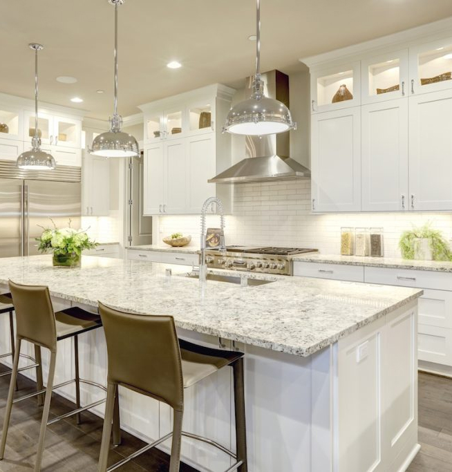 Full Kitchen Remodel with White Cabinets and white back splash in Montgomery County, MD