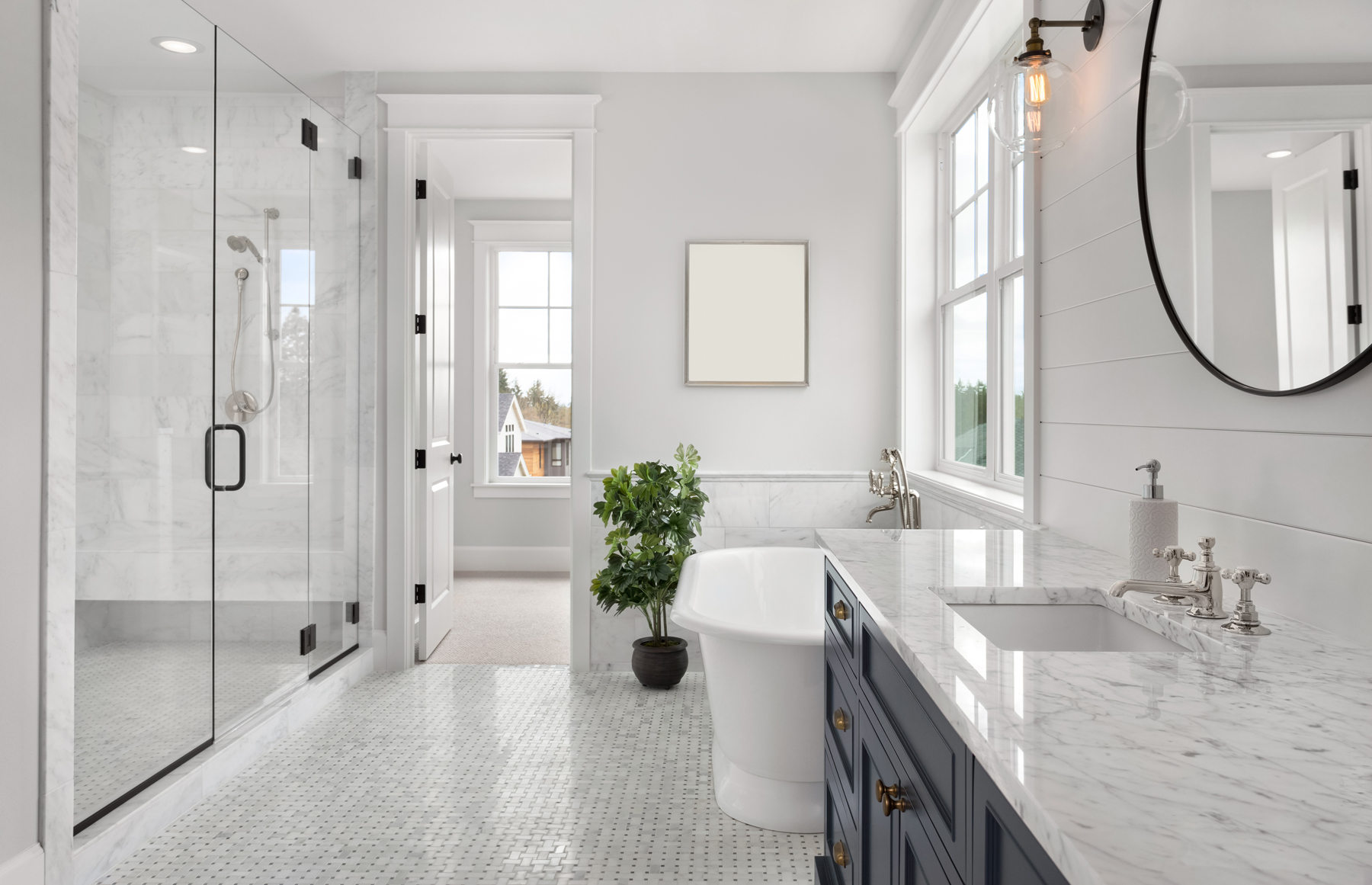 Full Bathroom Remodel with white tile in Montgomery County, MD